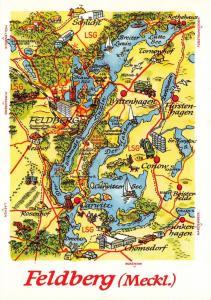 Vintage 1988 Landkarte Feldberg Germany Karte Map Postcard Postkarte 67D