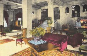 Los Angeles CA~Hotel Barbara Lobby~Plush Couch~Fringe Lamp~Persian Rugs~1922 PC