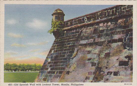 Philippines Manila Old Spanish Wall With Lookout Tower Curteich