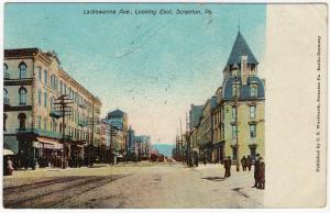 1907 Scranton PA Lackawanna Ave. Avenue Looking East RARE Old Thick UDB Postcard