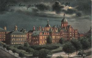 BALTIMORE, Maryland, 1908 ; John Hopkins Hospital at night