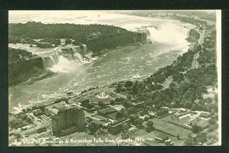 Aerial View American and Horseshoe Falls Canada RPPC Real Photo Postcard
