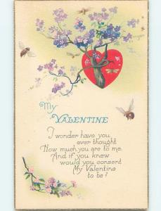 Pre-Linen valentine BUMBLEBEE BEES FLY TOWARDS FLOWERING TREE WITH HEART ho4050