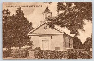 Yorktown Virginia~Colonial Grace Church~Ivy Covered Brick Fence Wall~1930s Sepia