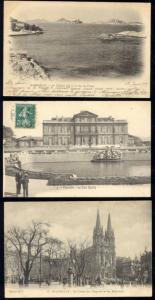 france, MARSEILLE, 3 Old Postcards, Iles du Frioul