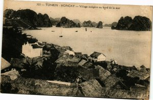 VIETNAM INDOCHINE Tonkin Hongay Village indigéne au bord de la mer(190239)