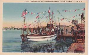 Florida Tarpon Springs Sightseeing Boat At Sponge Exchange Curteich