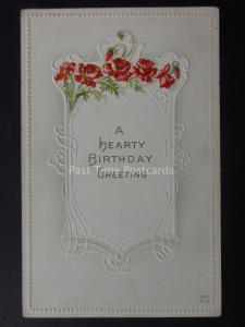 Poppies A HEART BIRTHDAY GREETING c1908 by E. Nash G48