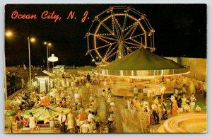 Ocean City New Jersey~Amusement Park Night Lights~Carousel~Ferris Wheel~1960s PC