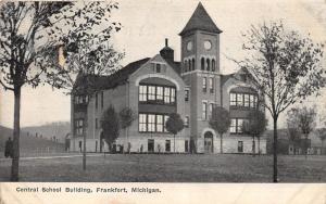 Frankfort Michigan~Central School Building~1909 B&W Postcard
