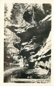 Logan-Hocking Hills OH~Old Mans Cave~Upper Gorge~1950s Real Photo Postcard RPPC