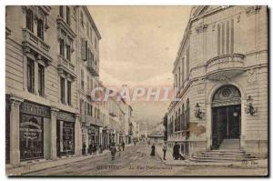 Old Postcard Post Hotel Menton Street Partouneaux