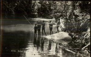Singapore Malaysia Sakai Men Fishing Real Photo Postcard