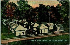 1910s Ottawa, Illinois Postcard Summer Scene, OTTAWA TENT COLONY Unused
