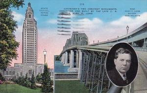Louisiana New Orleans Louisiana's Two Greatest Monuments New Huey P Long Brid...
