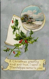 Christmas~Winter Cottage Vignette~Parchment~Holly Berry on Silver~Emboss~Winsch