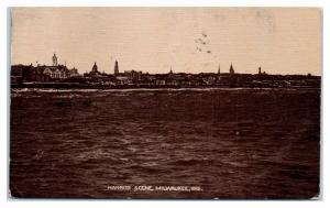 1910 Harbor Scene, Milwaukee, WI Postcard *5C