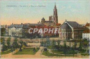 Postcard Old Strasbourg View Taking the Place de la Republique