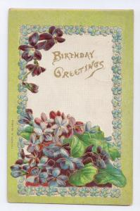 Violets Embossed Gilded Birthday Postcard 1910