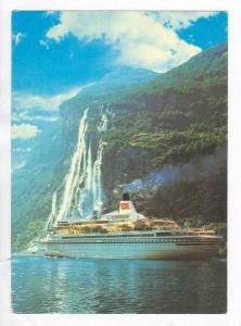 Seven Sisters waterfall, Geirangerfjord. Royal Viking Line OCEANLINER, PU 196...