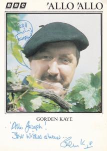 Gordon Kaye Allo Allo Vintage BBC Hand Signed Cast Card Photo