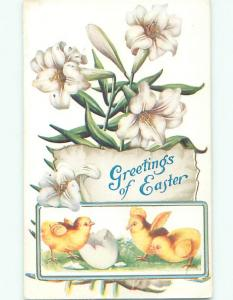 Pre-Linen CHICKS WITH CRACKED EGG AND EASTER LILY FLOWERS k2597