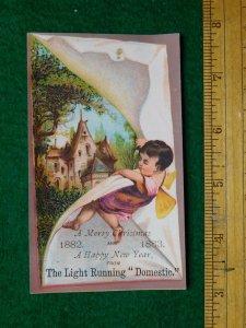 1870s-80s Cherub Light Running Domestic Sewing Machine Victorian Trade Card F14