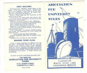 White Star Line , Canadian Service Pamphlet, Association for University Tours...