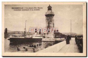 Marseille Old Postcard Lighthouse St. Mary Courier returning to joliette
