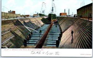 Baltimore Maryland Postcard Skinners Dry Dock Ship Building Scene 1900s Unused