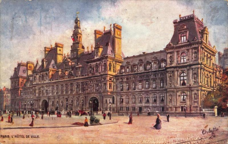 Vintage 1909 Tucks Art Postcard PARIS L'Hotel De Ville FRANCE No.952P-49
