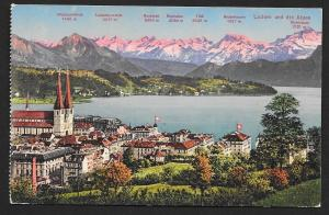 Lucerne at Water Edge & Distance to Mountains SWITZERLAND Unused c1910s