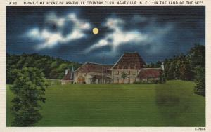 Asheville, NC, Asheville Country Club at Night, Linen Vintage Postcard g771