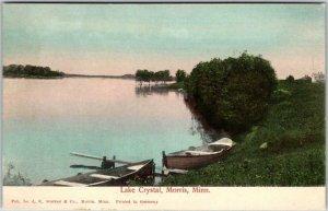 1910s MORRIS, Minnesota Postcard Lake Crystal Row Boats Hand-Colored Germany