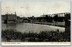 Kankakee IL~Two-Span Trust Bridge~View of Dam~CU Williams~1911 Postcard