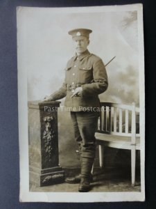 WW1 Military Studio Portrait of Soldier Old RP Postcard by Seaman of Colchester