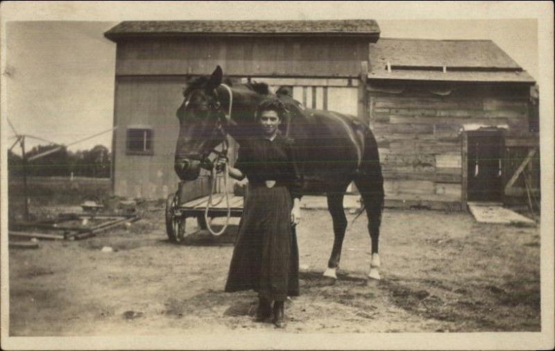 Young Woman & Her Horse Barn in Background - Beautiful Amateur RPPC c1910