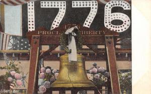 Patriotic~The Liberty Bell on Display~1776 RWB Light Bulb Sign~Mums~Wreath~c1908