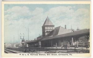 Coraopolis PA Mill Street P. & L.E. Railroad RR Station Postcard