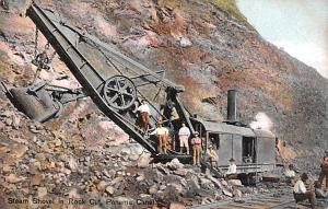 Panama Old Vintage Antique Post Card Steam Shovel in Rock Cut Unused