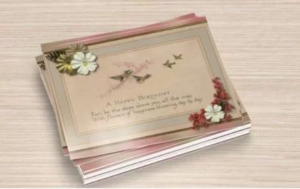 Birthday Postcard Set of 12, Swallows and a Branch of Cherry Blossoms Pastels