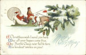 Christmas - Santa Claus Being Chauffeured in Sleigh c1910 Used Postcard