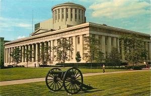 Columbus Ohio~State Capital~Civil War Cannon on Lawn~1960s Postcard