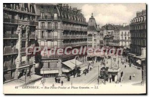 Old Postcard Grenoble Street Felix Poulat And Place Grenette