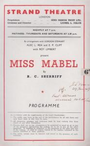 Miss Mabel RC Sherriff The Strand Drama London Theatre  Programme