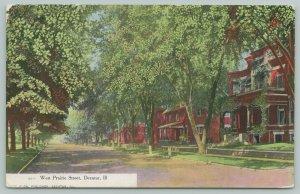 Decatur Illinois~West Prairie Street Mansion Homes~Dirt Road~c1908 Curt Teich PC