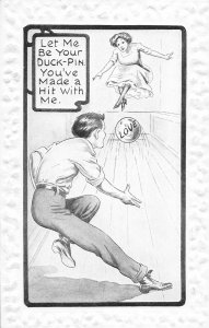 F93/ Sports Postcard Comic c1910 Bowling Alley Love Romance 18