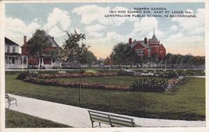 Sunken Garden,Longfellow Public School in background,St.Louis,Illinois,PU-1921