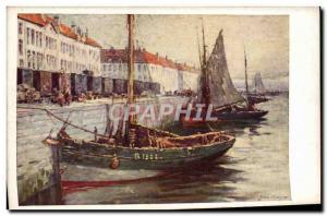 Postcard Old fishing boat Sailboat