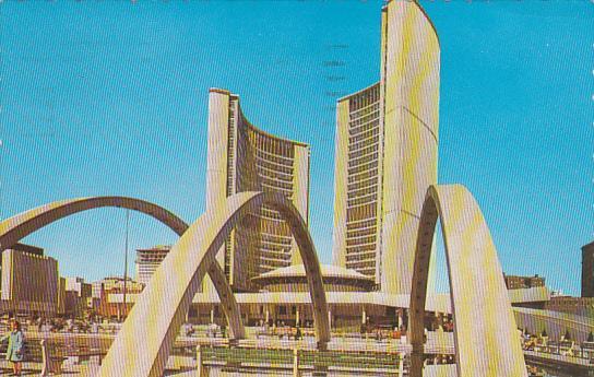 City Hall, Nathan Phillips Square, Toronto, Ontario, Canada, PU-1966
